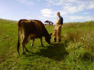 Anna with a Jersey dairy cow, Ianthena. Dairy cows are generally leaner.