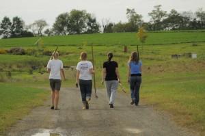 Student volunteers at Dickinson College Farm.