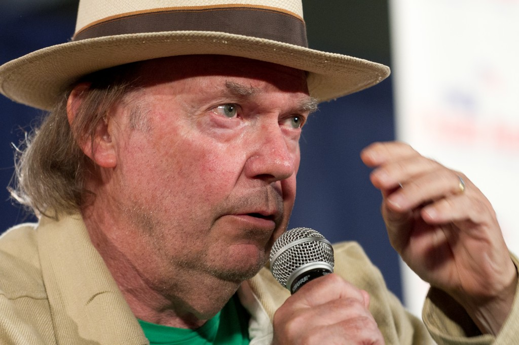 Farm Aid 2012 Press Conference: Neil Young speaks to the crowd.
