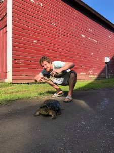 Jonah with a snapping turtle