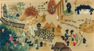 GELEBTE KUNST 1991 MIT MÄDCHEN DER GRUNDSCHULE AUERBACH AM LEHRSTUHL KUNST DER UNIVERSITÄT PASSAU GEFERTIGTE COLLAGE ZUM THEMA EXODUS, HOLOCAUST UND BAYERISCHE VERFASSUNG