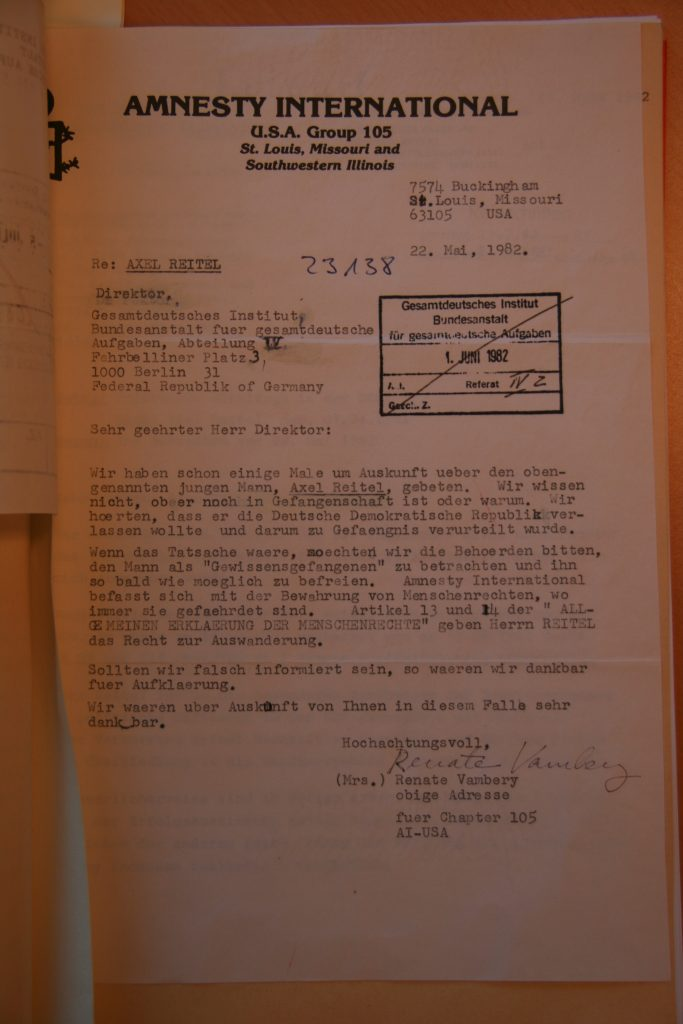 AI letter asking for the release of Axel Reitel