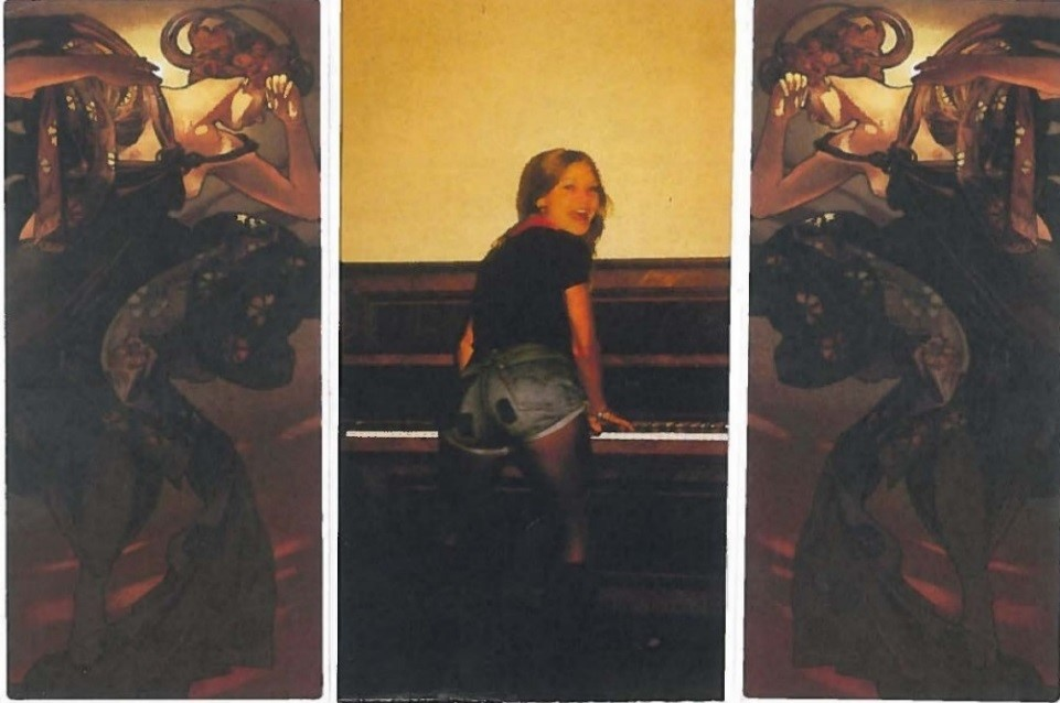 Lynne at the piano tryptich