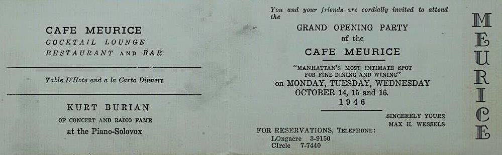 Cafe Meurice invitation