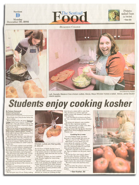 "Sentinel Food section feature: ""Students enjoy cooking kosher"""