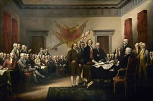 Roger Sherman and the Committee of Five presenting the Declaration of Independence to the Continental.  Congress. Photo Credits: Wikipedia
