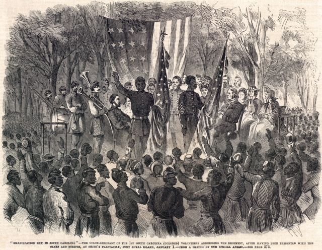 Sergeant Prince Rivers receives the colors of the First South Carolina Volunteers, Port Royal, South Carolina, January 1, 1863 (Courtesy of the House Divided Project)
