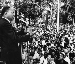 Dr. Martin Luther King Jr. attends rally at Girard College. Courtesy of Temple University Libraries, Urban Archives.