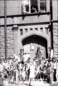 Students protest the Vietnam War outside of Denny on May 6, 1970 (Photo courtesy of Pierce Bounds).