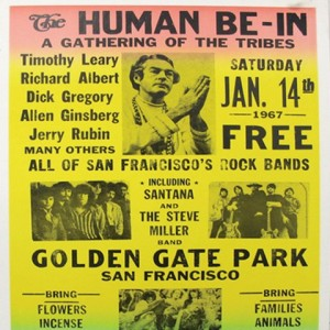 Advertisement for the rally in Golden Gate Park(http://cdn8.openculture.com/wp-content/uploads/2014/09/Human_be-in_poster.jpg)