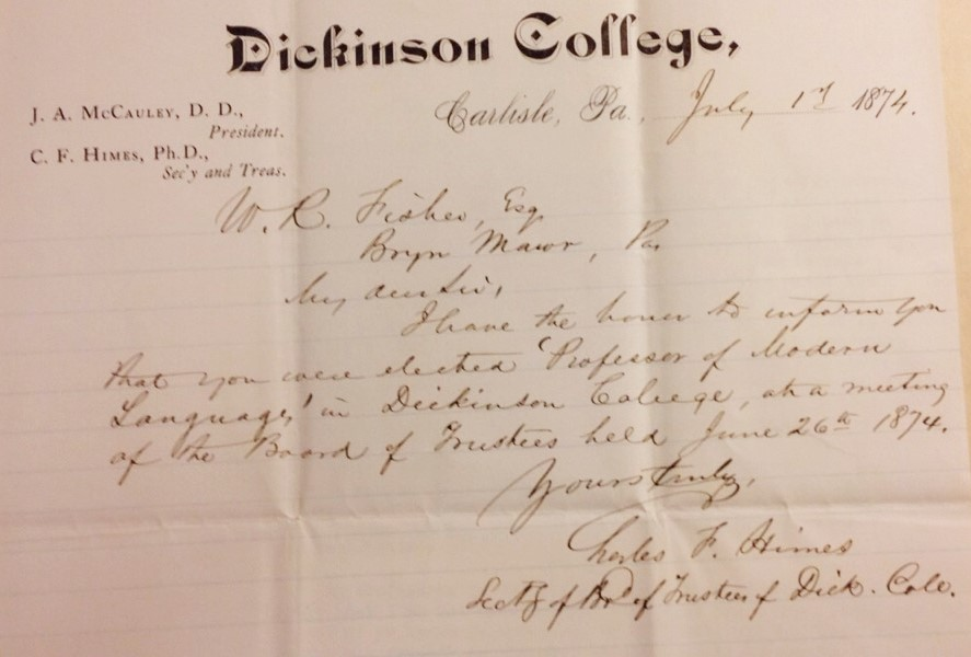 Letter from Himes to Fisher, informing him of his position as Modern Language Professor. Courtesy of the Dickinson College Archives.