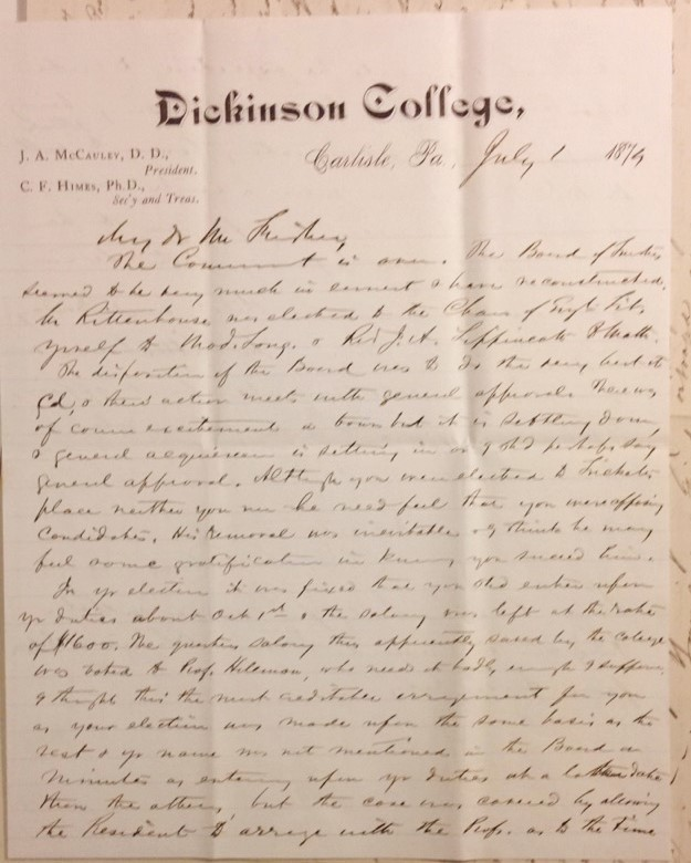 Letter form Himes to Fisher, discussing the changes made by the Board of Trustees. Courtesy of the Dickinson College Archives.