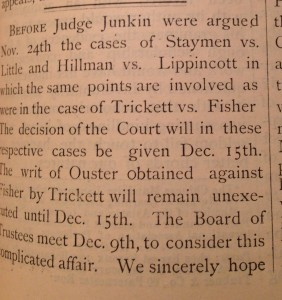 The December 1874 edition of The Dickinsonian. Courtesy of the Dickinson Archives.  The December 1874 edition of The Dickinsonian. Courtesy of the Dickinson Archives.