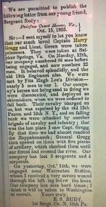 "Article from Huntingdon Globe Courtesy of ""Pennsylvania Civil War Era Newspapers"""