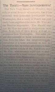 This photograph of an article in the Carlisle Herald and Expositor reveals continuation in the efforts to create a treaty to end the Mexican-American War. (Photographer- Greg Parker, Waidner Spahr Library)