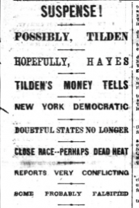 National Republican headline, November, 8, 1876. Courtesy of Library of Congress.