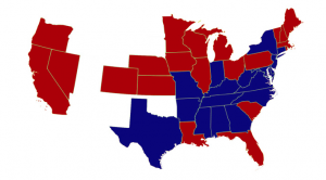 Map of Electoral Votes in 1876 Presidential Election. Red represents votes for Hayes and blue represents votes for Tilden. Courtesy of the American Presidency Project.