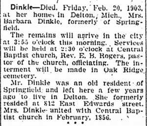 Barbara Dinkle death notice