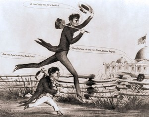 1860 Lincoln-Douglas cartoon. Despite being two years later, it captures the public perception of the two candidates. Courtesy of House Divided.