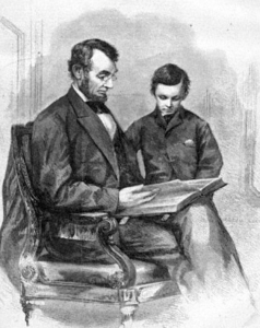 Lincoln and Tad Examine the Bible: Image Courtesy of Abraham Lincoln's Classroom at the Lincoln Institute.