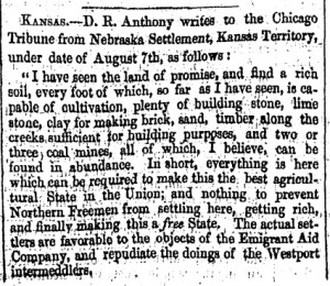 letter to Chicago Tribue about Kansas' potential