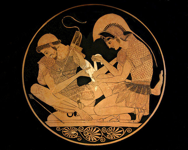 "The Sosias Painter, ""Achilles tending the wounded Patroklos,"" late archaic period. Berlin, Antikenmuseen"