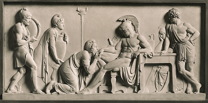"Bertel Thorvaldsen, ""Priam Pleads with Achilles for Hector's Body,"" 1868-1870."