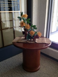 This wonderful display of ikebana, or Japanese flower arrangement, is beautifully located outside of the East Asian Studies room of the Dickinson College Library.