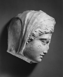 Marble relief fragment with the head of Medea 1st–2nd century A.D. Metropolitan Museum.
