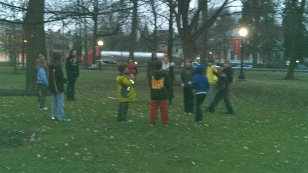 3-5th grade group playing some outdoor Latin games