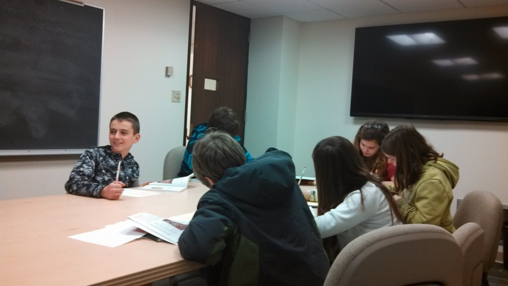6-8th grade group working on the Cambridge Latin Course, 1/20/14