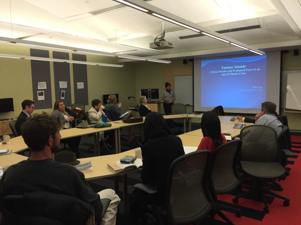 LIASE faculty colloquium members listen to Prof. Julie Sze discuss her recent book on eco-cities in China on Thursday, April 7, 2016.
