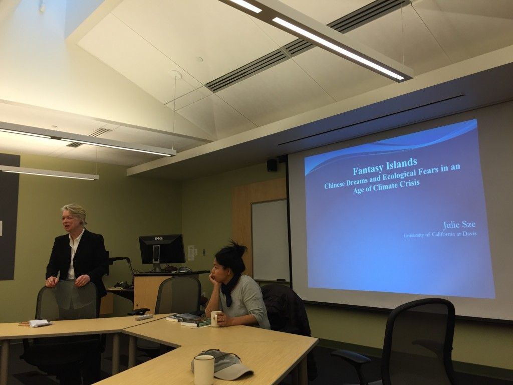 Prof. Ann Hill introduces Julie Sze to the LIASE faculty colloquium on Thursday, April 7, 2016