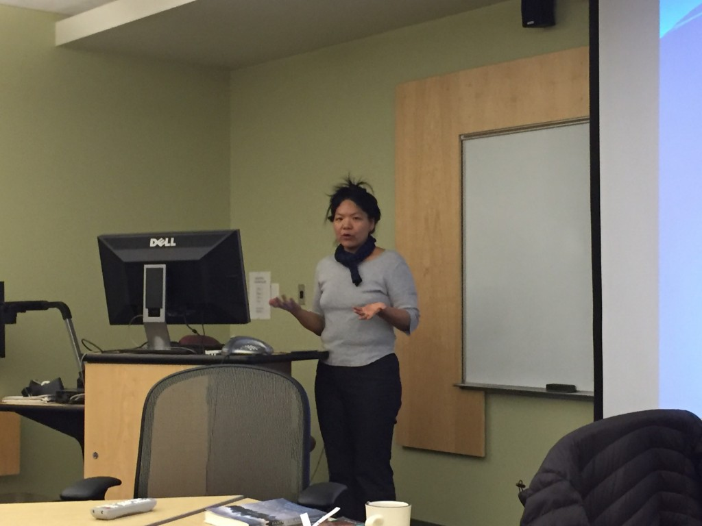 Prof. Julie Sze talks about the Shanghai Expo with LIASE faculty colloquium members on Thursday, April 7, 2016.