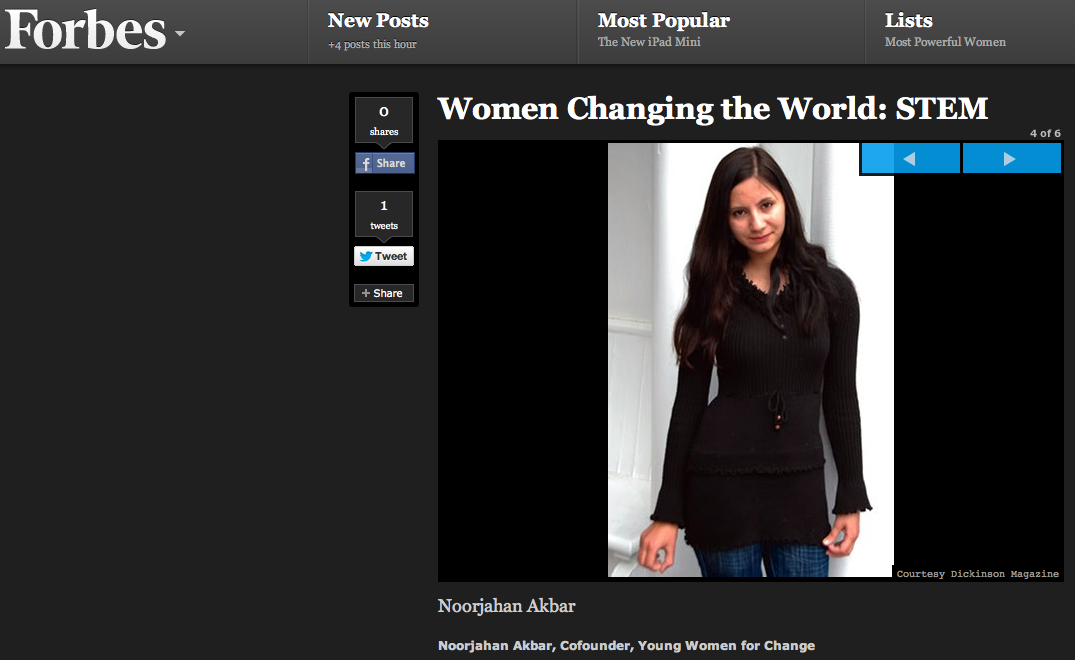 "Noor Akbar, Media Center Consultant, Featured in Forbes ""Most Powerful Women in the World"" Issue"