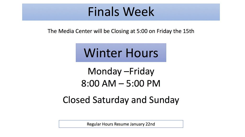 Finals and Winter Hours