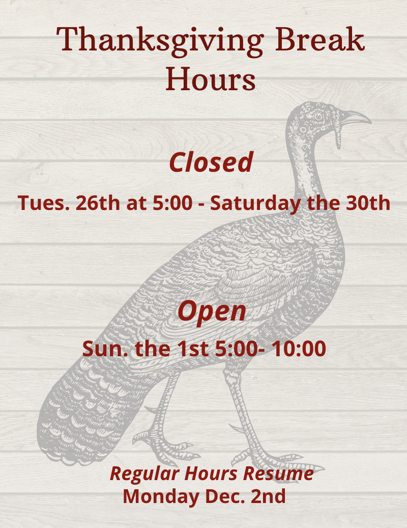 Shows Thanksgiving hours