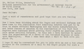 """A Mass Protest March"" letter from A. Philip Randolph to Walter White"