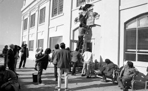 Photograph taken by Vincent Maggiora of the San Francisco Chronicle during the occupation of Alcatraz by Native American activists in 1969.