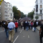 Walking towards the Notting Hill Carnival