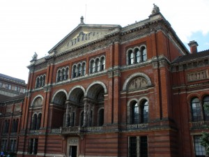 The architecture of the V&A from the garden