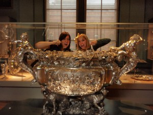 Sarah and Alli drinking from the giant punch bowl