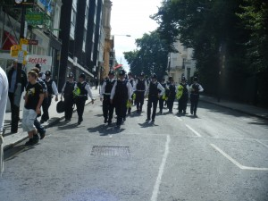 Just a part of the swarm of police coming down the hill