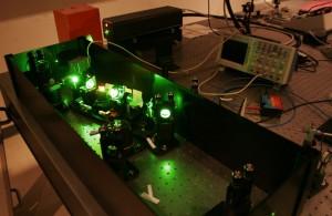 Titanium:sapphire ultrafast laser system.