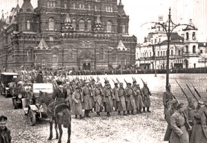 The Red Army occupying Moscow, during the Russian Civil War