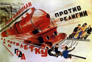 """For the Industrial Plan; for completing a five-year plan in only four; against religion"" Yurij Pimenov, 1930 (http://en.doppiozero.com/materiali/interviste/putin-and-russian-spirit-interview-with-gian-piero-piretto)"