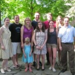 Russian majors and minors gather with faculty at reception during commencement weekend