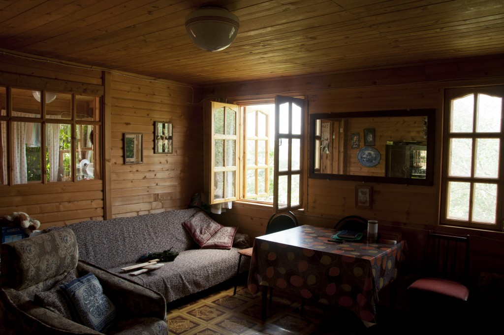 Russian room interior with wood paneling, low natural light