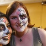 students wear traditional face paint