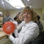 One of the winners with a Dickinson frisbee